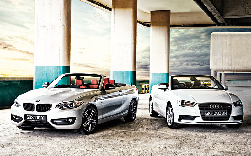 group test bmw 220i convertible versus audi a3 cabriolet torque. Black Bedroom Furniture Sets. Home Design Ideas