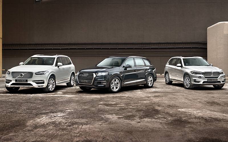 group test  volvo xc90 t6 2 0 vs audi q7 3 0 vs bmw x5 xdrive35i 3 0