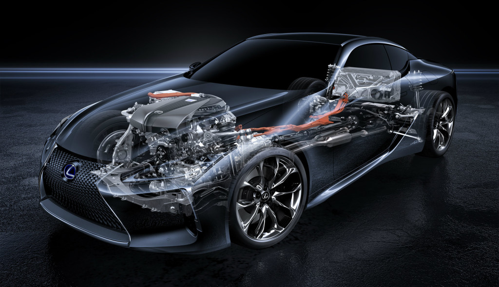 The LC500h is powered by Lexus' newfangled Multi Stage Hybrid System.