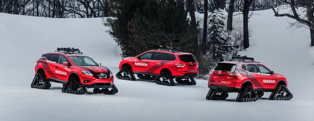 """The """"Winter Warrior"""" editions of Murano, Pathfinder and Rogue (X-Trail)."""
