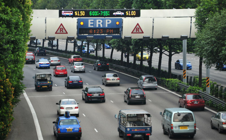 Cars passing under the electronic road pricing (ERP) gantry along the Central Expressway (CTE).