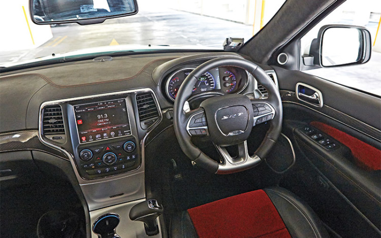 Grand Cherokee SRT8 has sports seats and alloy pedals.