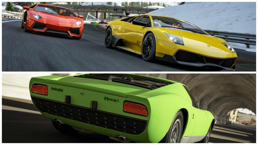 "Forza also lets you ""drive"" the Aventador, Murcielago and Miura."