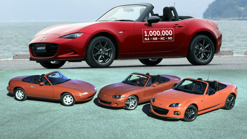 Mazda's NA, NB, NC (left to right, above) and ND (top) generations of the MX-5.