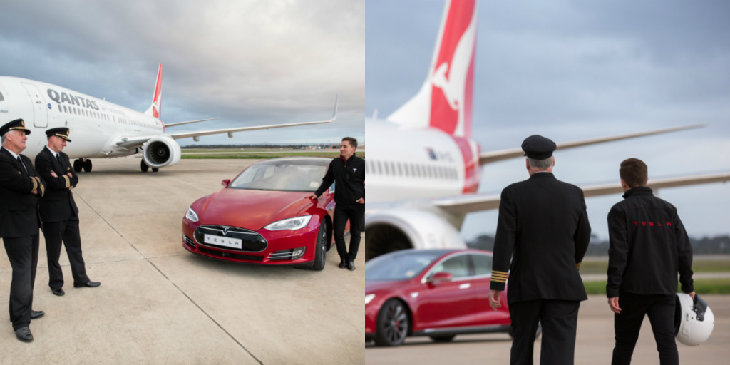 tesla, model s p90d, tesla model s p90d, boeing, 737, boeing 737, qantas, melbourne, australia pic2