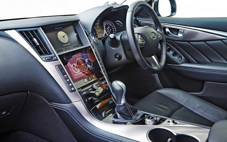 Q50 cockpit is easier to figure out and more driver-oriented.