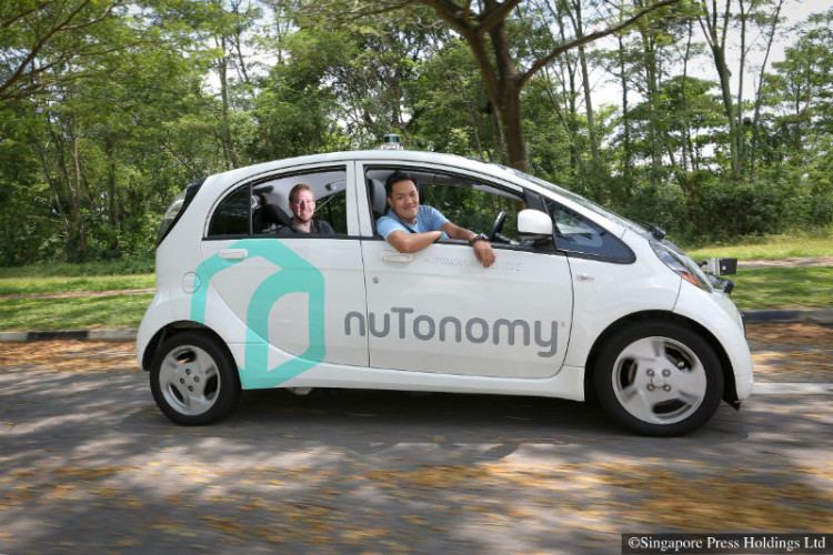 This car, developed by nuTonomy, is driven autonomously without input in the driver's seat.