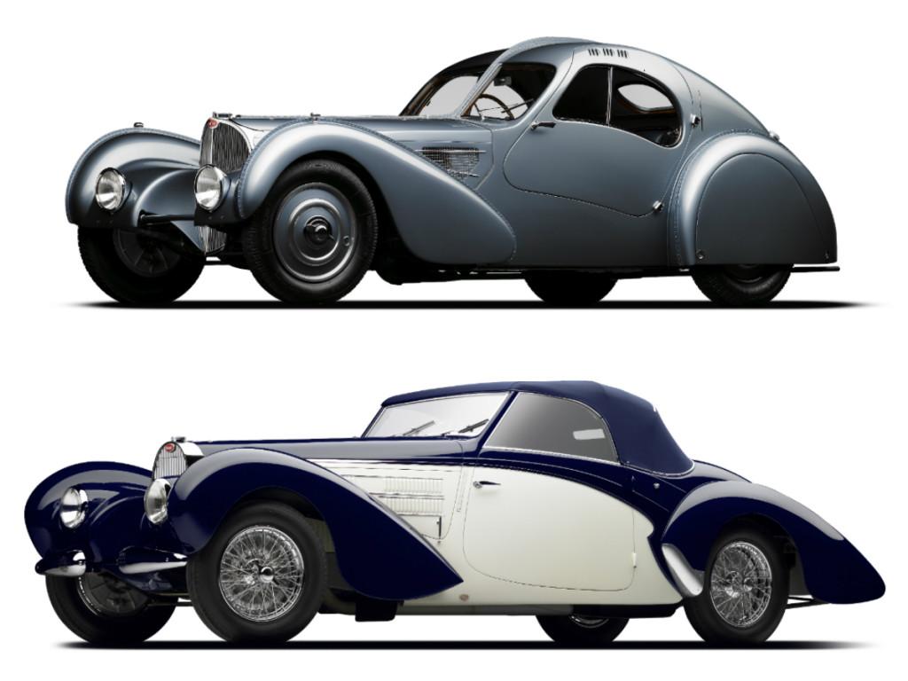 1936 Bugatti Type 57C Atlantic (top) and 1939 Bugatti Type 57C Aravis (above).