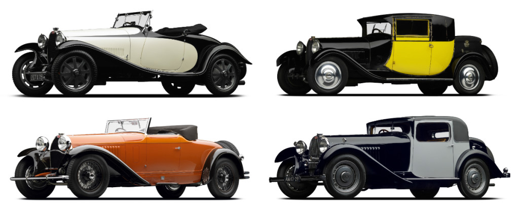 (Clockwise from top left) Bugatti's 1928 Type 43-44 Grand Sport, 1929 Type 44 Fiacra, 1930 Type 46 and 1931 Type 50.
