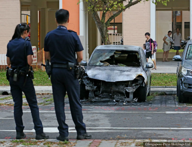 A car in an Ang Mo Kio carpark ended up a blackened heap after it caught fire on its own on 4 October 2016 afternoon. The Singapore Civil Defence Force (SCDF) was alerted to the fire at Block 609, Ang Mo Kio Avenue 4, at 4.38pm. The blaze in the engine compartment was extinguished using a water jet and a fire extinguisher. Residents near the block said they heard loud bangs as the car burned. There were burn marks on a lorry and a car which were parked next to the burning car.