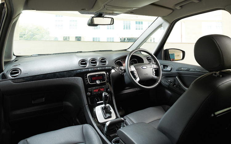 GALAXY - Has the most generous headroom plus the best forward and lateral visibility, because of the tall roofline and expansive windscreen. Neat and unique touches include an auto-dimming rear view mirror and an aircraft-style parking brake.
