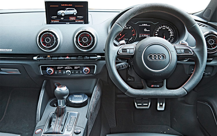 RS3 cockpit is classier and more comfortable.