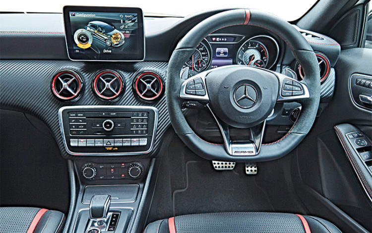 A45 cockpit has a racier design and sportier front seats.