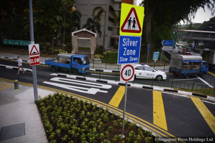 The Silver Zone Gateway at Bukit Merah View, with speed limit signs and rumble stripes informing motorists to slow down and observe a speed limit of 40km/h.
