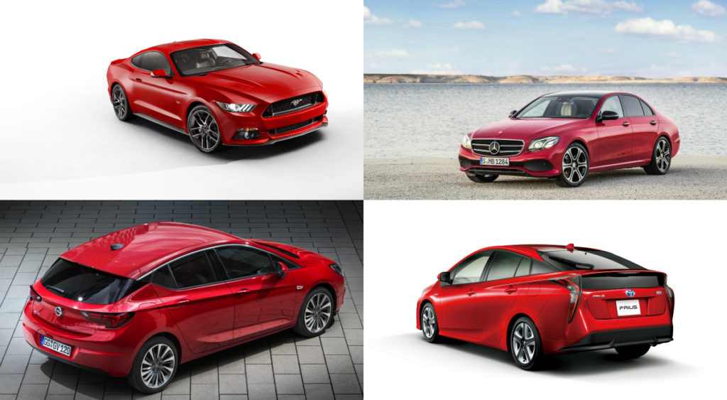 (Clockwise from top right) Mercedes-Benz E-Class is in seventh place with 234 points, Toyota Prius is in eighth place with 231 points, Opel Astra is in ninth place with 225 points and Ford Mustang is in 10th place with 214 points.