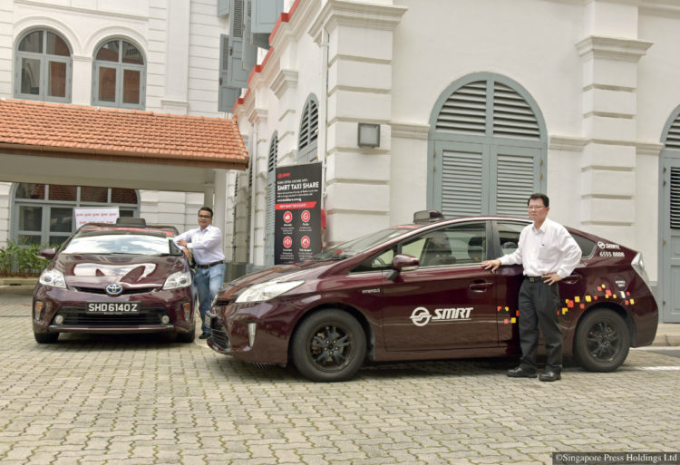 SMRT cabbies Muhammad Nur Dzhorif (left), 32, and Tay Seng Kok, 58, are considering signing up for the Taxi Share scheme so they can enjoy more work flexibility. The scheme, which will allow cabbies to rent taxis at an hourly rate of between $5.80 and $12.80, will kick off next month.