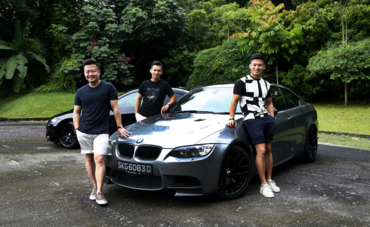 Brothers (from left) Amos Poh, Wen Yi and Adrel drive BMW M3 coupes. The grey M3 belongs to Amos and the one behind belongs to Wen Yi. Adrel drives a black M3, which was at the workshop on the day of the photo shoot.