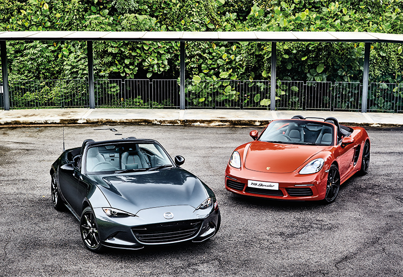 Mazda MX-5 and Porsche 718 Boxster