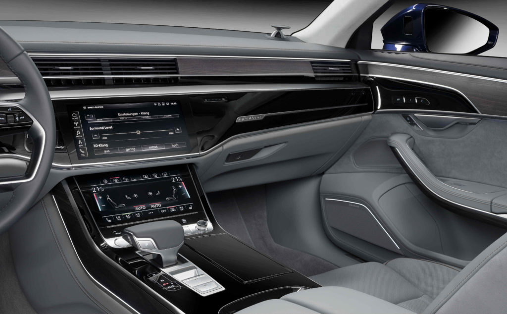 b o 3d audio entertainment in the new audi a8 torque. Black Bedroom Furniture Sets. Home Design Ideas