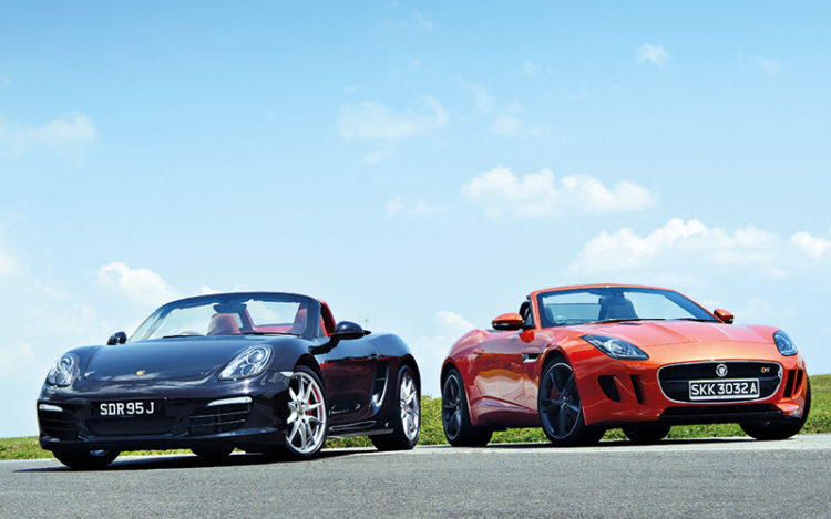 porsche-boxster-and-jaguar-f-type-front-static