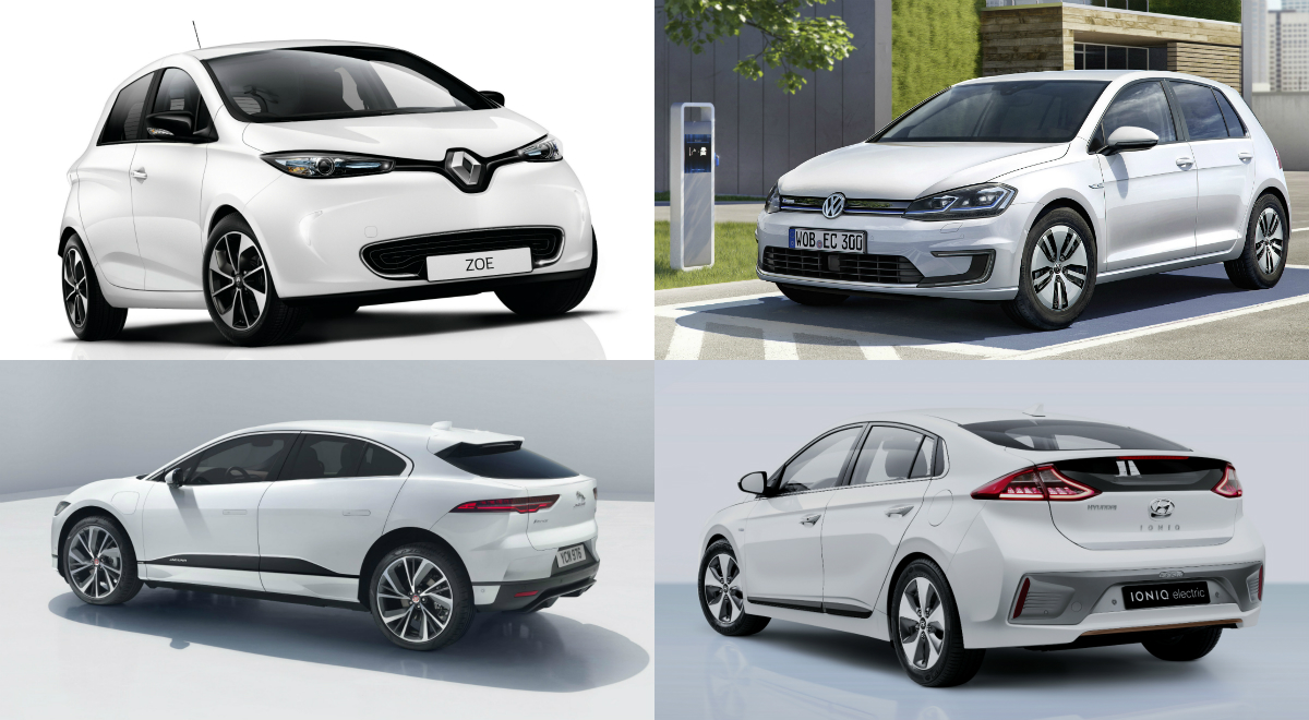 Battery-powered cars are going on sale here at last, such as (clockwise from top, left) the Renault Zoe, Volkswagen e-Golf, Hyundai Ioniq Electric and Jaguar I-Pace.