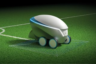 Nissan Pitch-R is an autonomous robot which can draw a football field wherever there is space.