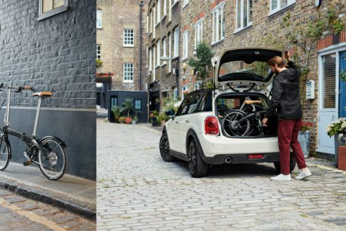 The collapsible MINI Folding Bike can be easily and quickly loaded into any car boot, and provides a flexible, comfortable and contemporary means of getting around on two wheels.