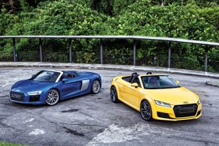 audi r8 spyder and audi tt roadster front static