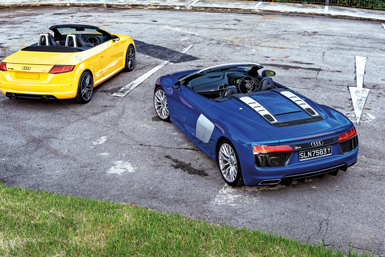 audi tt roadster and audi r8 spyder rear static