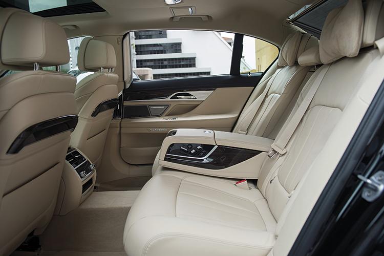 The BMW 740Li's high-tech backseat.