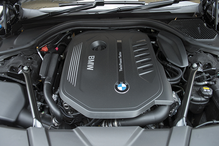 BMW 740Li's turbocharged 3-litre inline-6 motor.