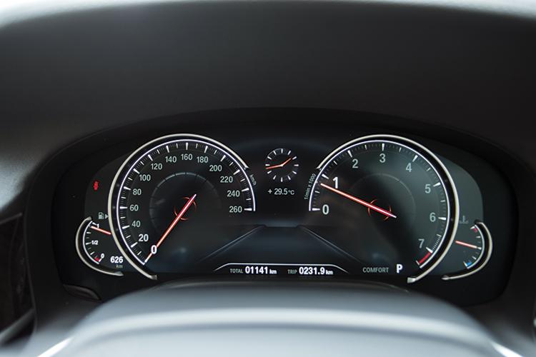 The BMW 740Li's dials.