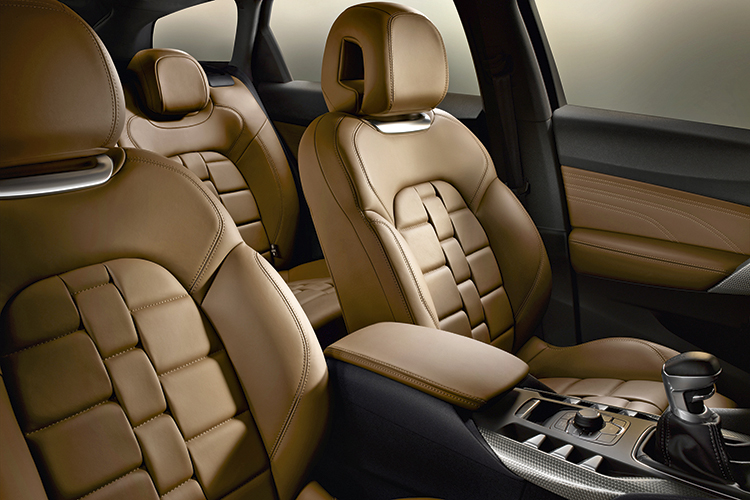 """The Citroen DS5's artistic armchairs are upholstered in special """"watchstrap"""" leather and provide superb comfort."""