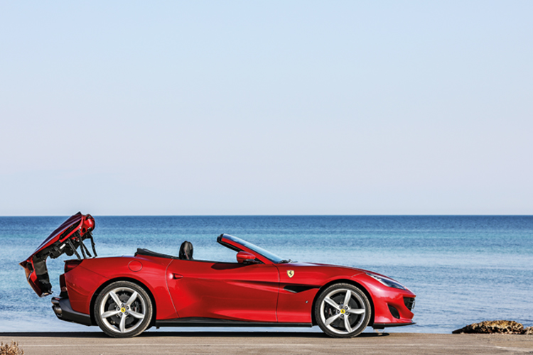 Ferrari Portofino's folding hard-top opens/closes in 14 seconds, but more importantly, it can now be operated on the move.