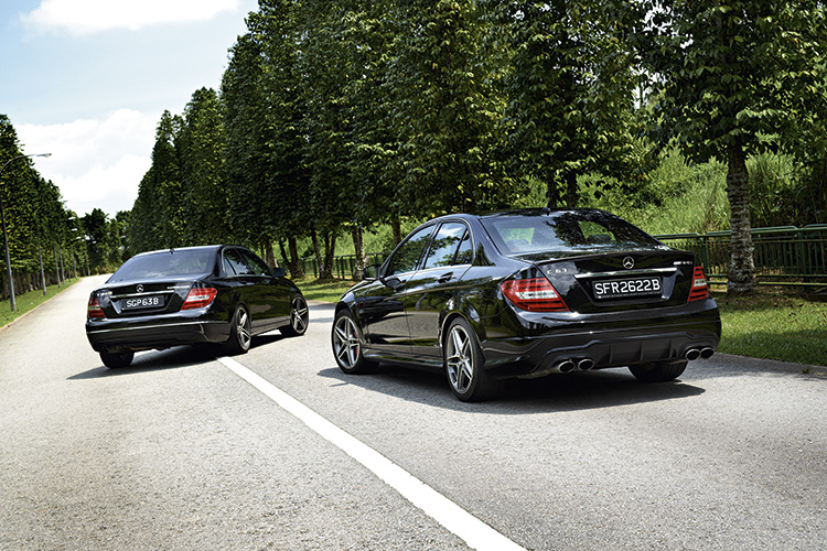 mercedes-benz C180 and c63 amg rear static