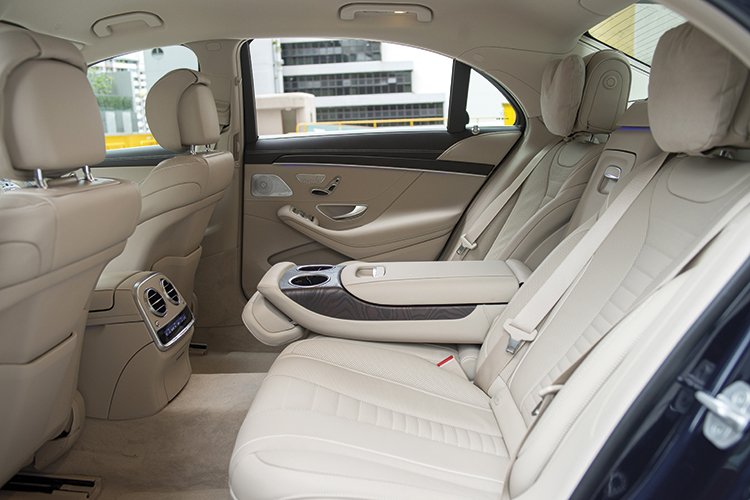 The Mercedes-Benz S320L's cushy backseat.
