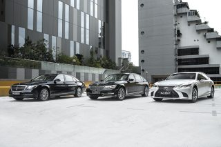 mercedes-benz s320l and bmw 740li and lexus ls350