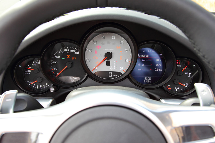 Informative five-dial instrument cluster is part of 911's exciting on-road entertainment for the enthusiast.