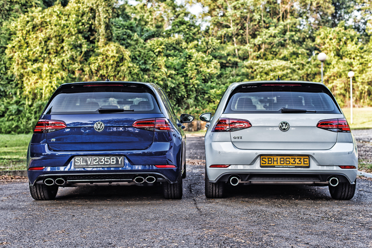 volkswagen golf r and volkswagen golf gti rear static shot