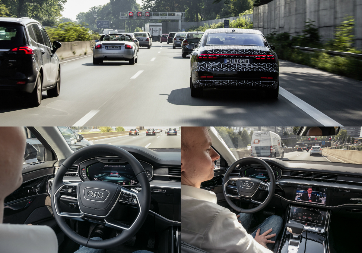 Audi's state-of-the-art system in its latest flagship limousine relieves the driver from the tedium of traffic jams, by allowing him to relax behind the wheel while the limo drives itself.