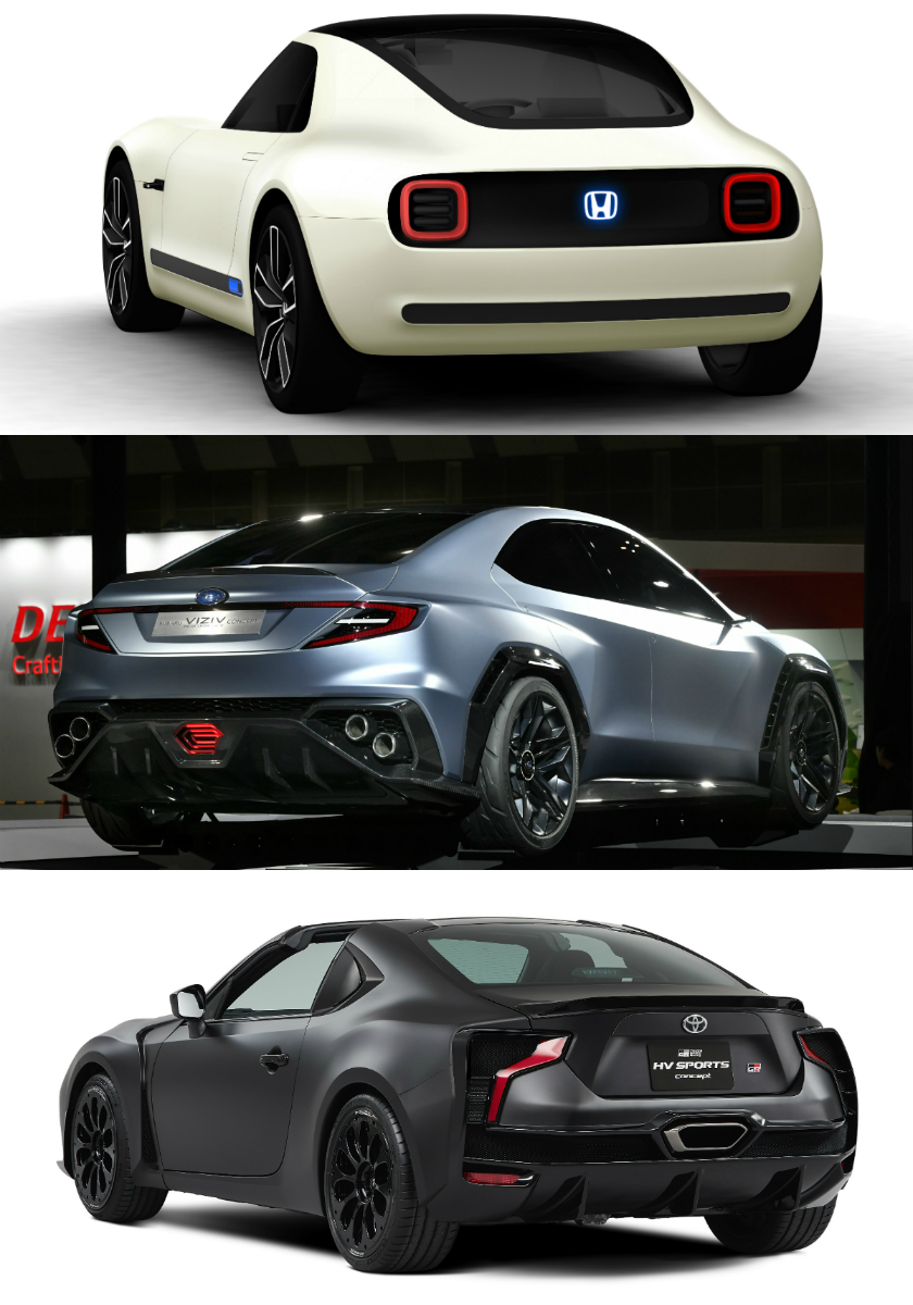 The Honda EV Sports Concept (white), Subaru Viziv Performance Concept (blue) and Toyota GR HV Sports (black) are special Japanese speedsters in the pipeline for boyracers across Asia.