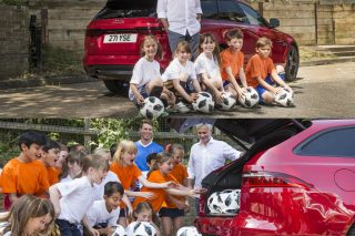 The well-known football manager arrived at Bishop Gilpin Church of England Primary School in a Jaguar XF Sportbrake full of new football equipment, which he donated to the children as part of an inspiring afternoon in class.