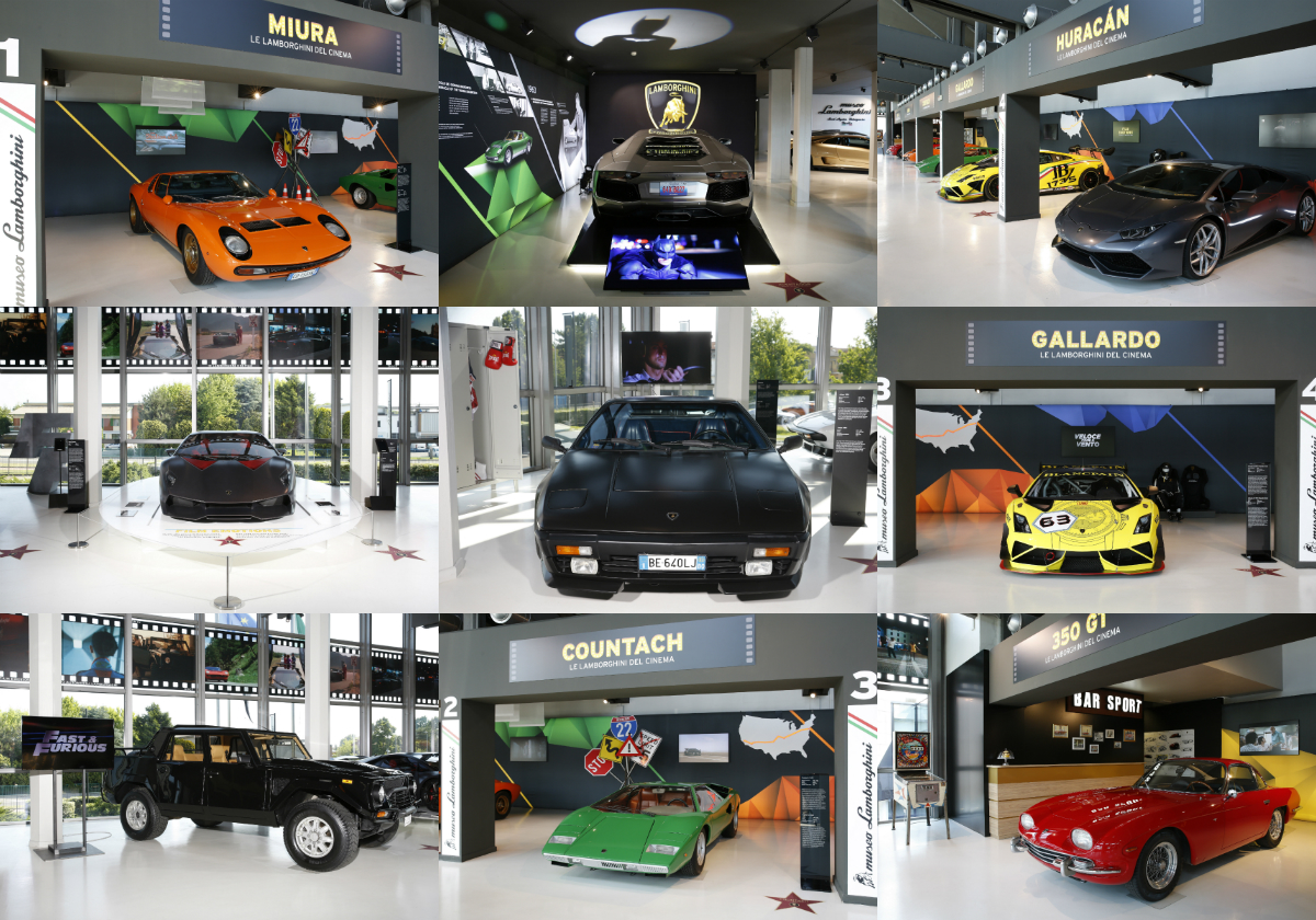 """The exhibition """"Film Emotions – Lamborghini and the World of Cinema"""", at the Lamborghini Museum in Sant'Agata Bolognese, showcases Lamborghini cars that have left their mark on the big screen, from the Miura of The Italian Job (1969) to the Aventador of The Dark Knight Rises (2012)."""