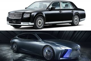The Toyota limousine (black car) looks back to the past, whereas the Lexus limo (silver car) looks ahead into the future