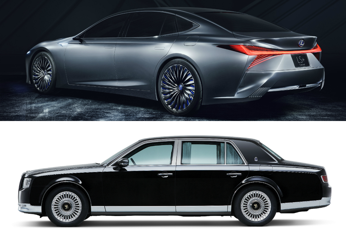 The Toyota Century limousine (black car) looks back to the past, whereas the Lexus LS+ limo (silver car) looks ahead into the future