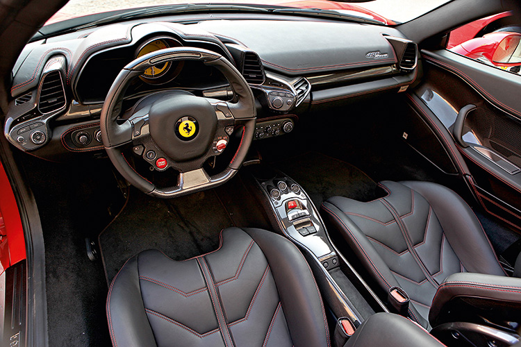 Dramatic 458 Spider interior is very similar to the coupe's and, therefore, also a petrolhead's dream come true.