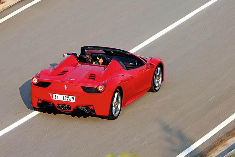 The quick-fire Ferrari 458 Spider can fly at 300km/h, crawl at 30km/h, and take your breath away without any delay.