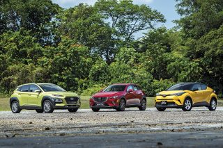 hyundai kona 1.6, mazda cx-3 2.0 and toyota c-hr 1.2