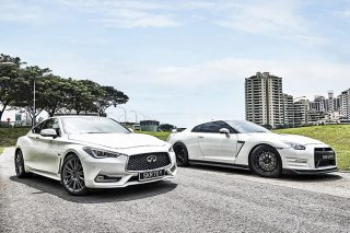 The Infiniti Q60 Red Sport 400 burns your licence like a designer Zippo, whereas the Nissan GT-R burns it like an industrial blowtorch.