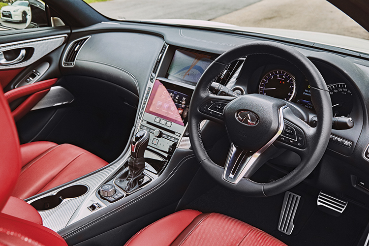 Infiniti Q60 cabin is roomier, comfier and more luxurious.